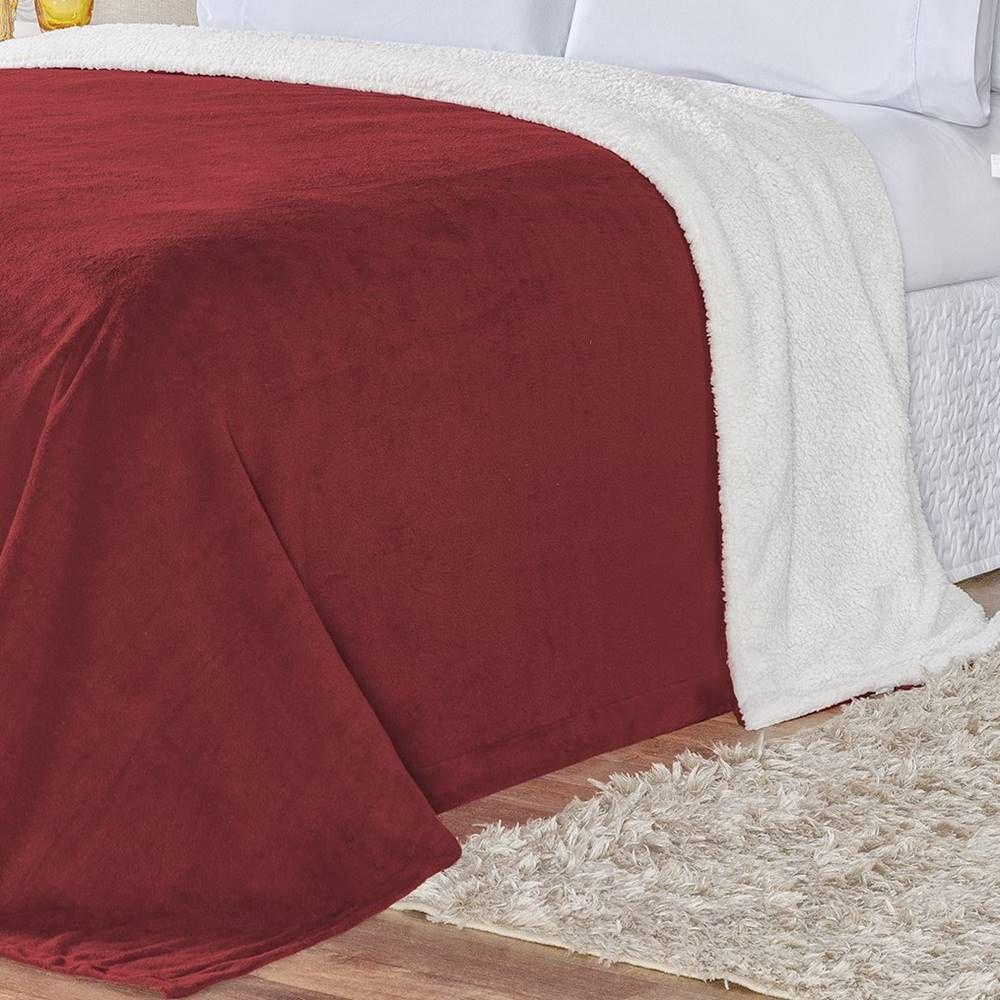 Cobertor Pele de Carneiro Sherpa Alaska King 01 Peça - Vermelho
