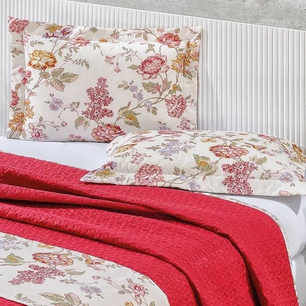 Cobre Leito 140 Fios Casal Gladis 04 Pcs - Floral Vermelho