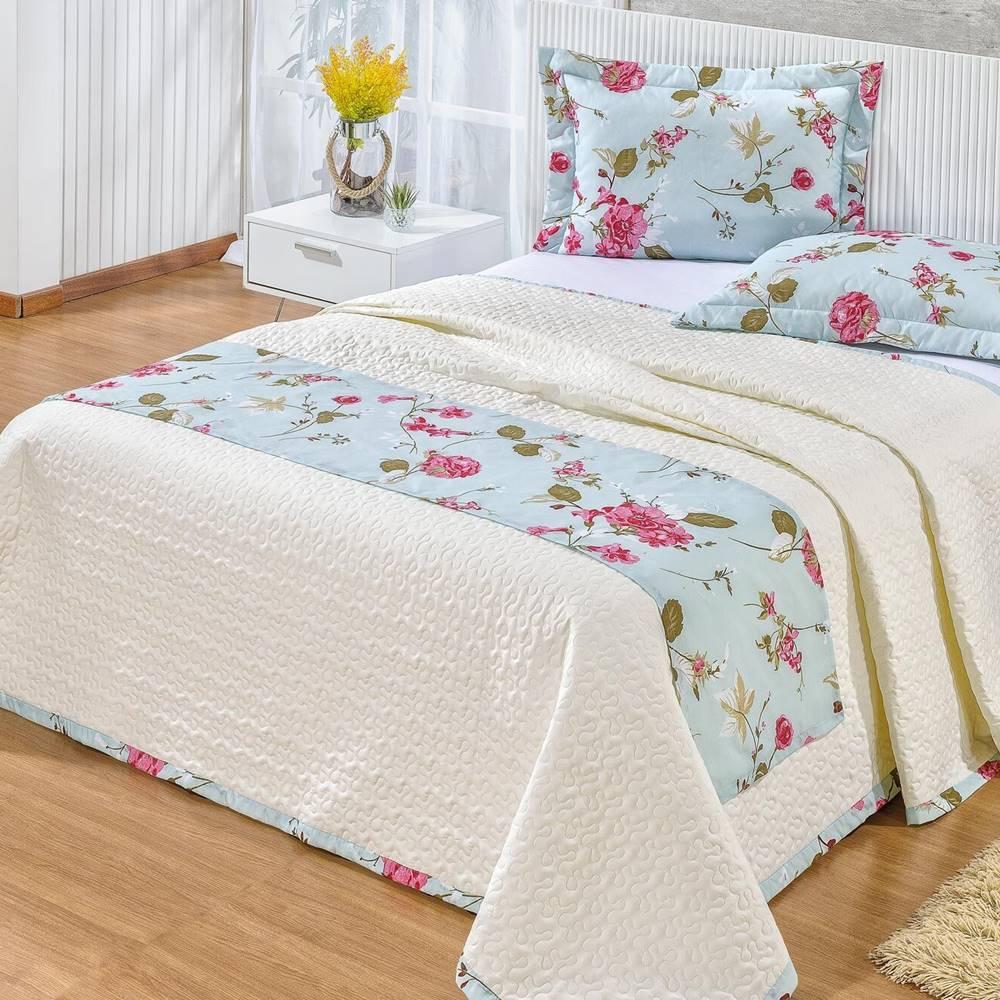 Cobre Leito 140 Fios Queen Gladis 04 Pcs - Floral Creme