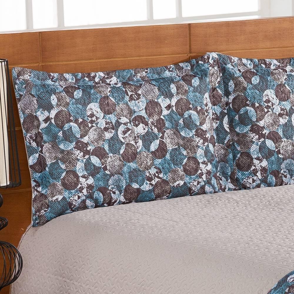 Cobre Leito Estampado Queen Montana 03 Peças - Azul