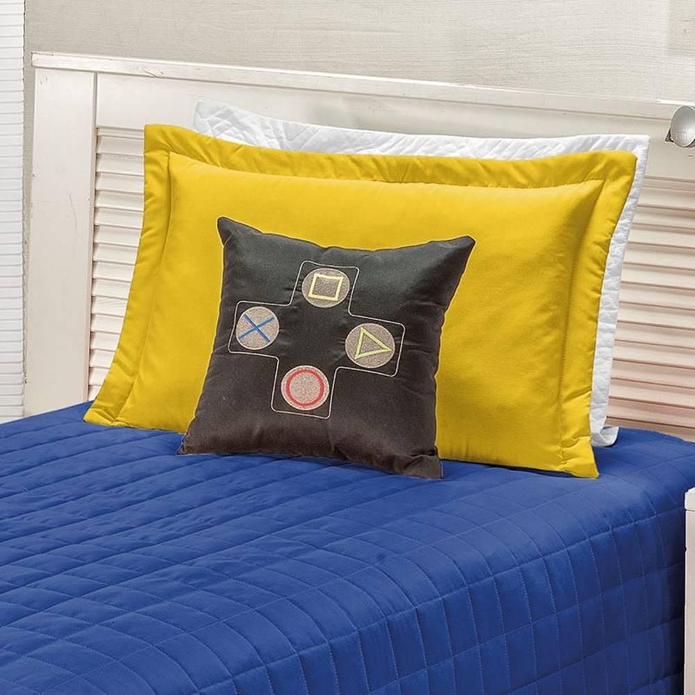Cobre Leito Solteiro Game 04 Peças - Azul e Amarelo