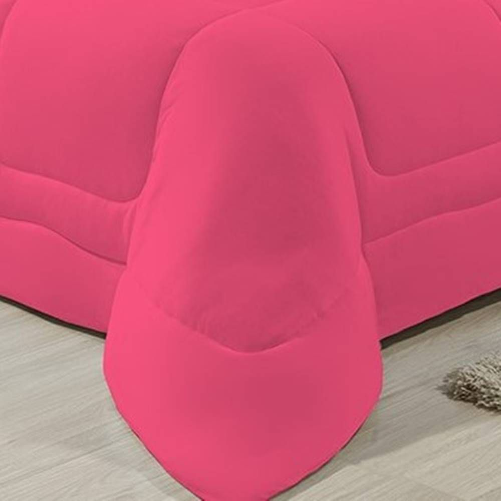 Edredom Dupla Face 100% Algodão Malha Queen Gran Moratta 01 Peça - Pink/ Preto