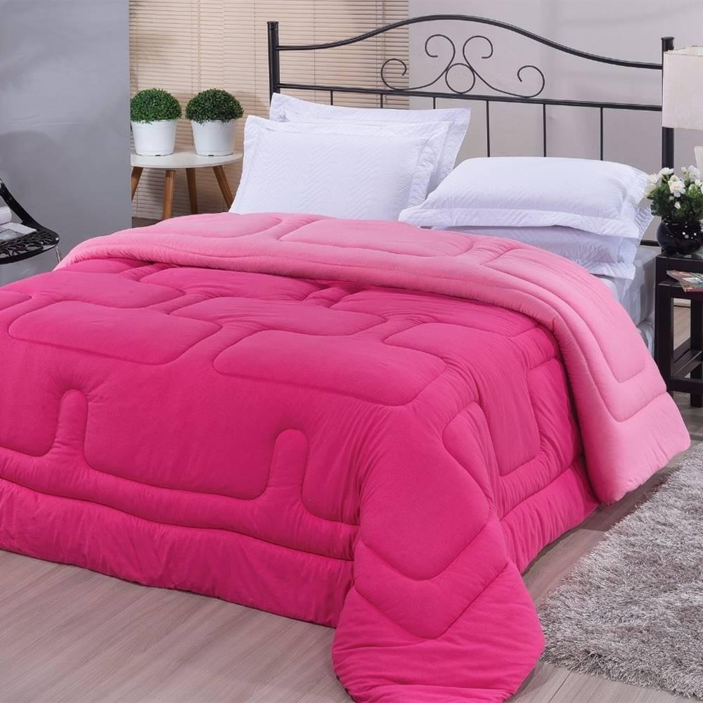 ecfe4042f0 Edredom Dupla Face 100% Algodão Malha Queen Guilherme 01 Peça - Pink Rosa