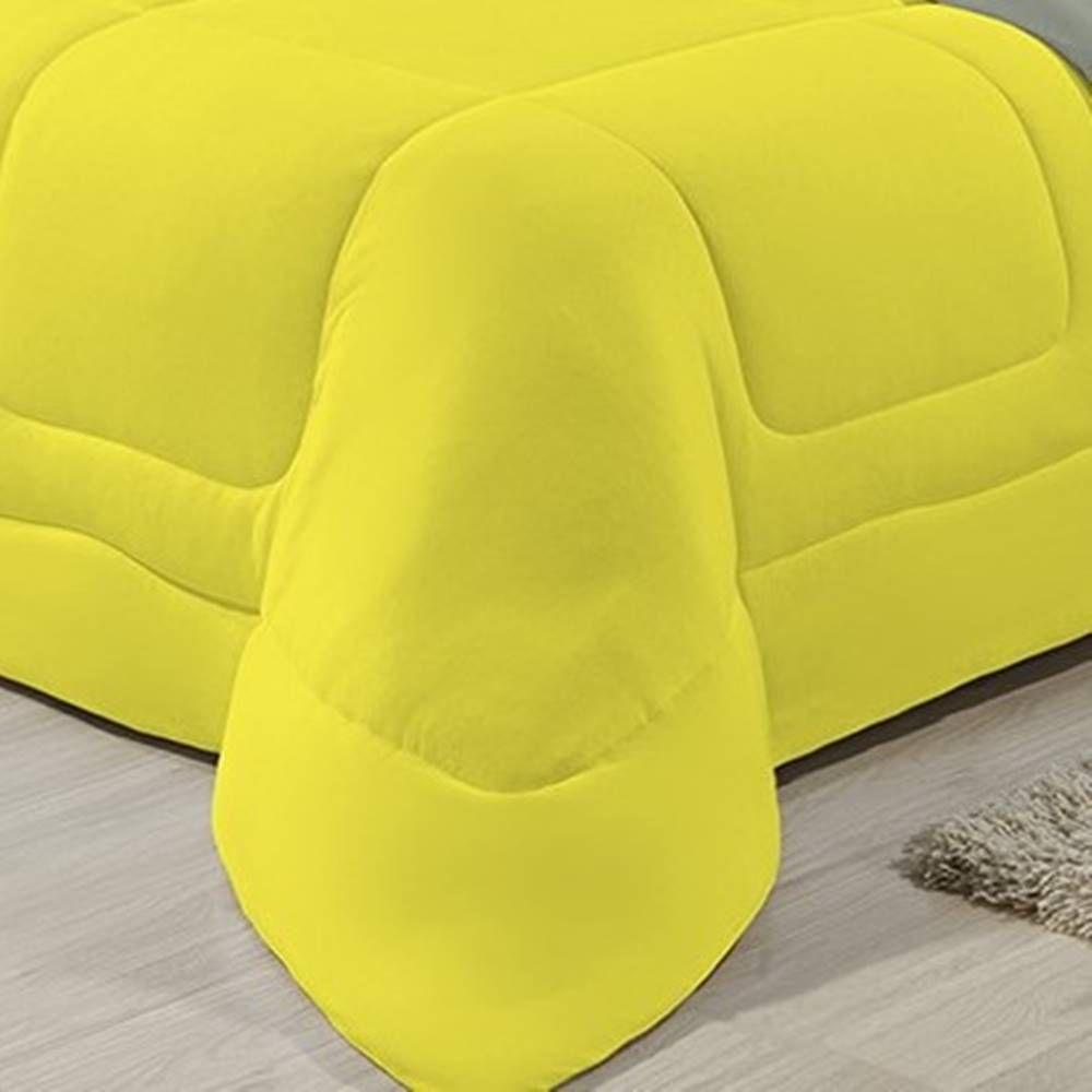 Edredom Dupla Face 100% Algodão Malha Solteiro Gran Moratta 01 Peça - Cinza/ Amarelo