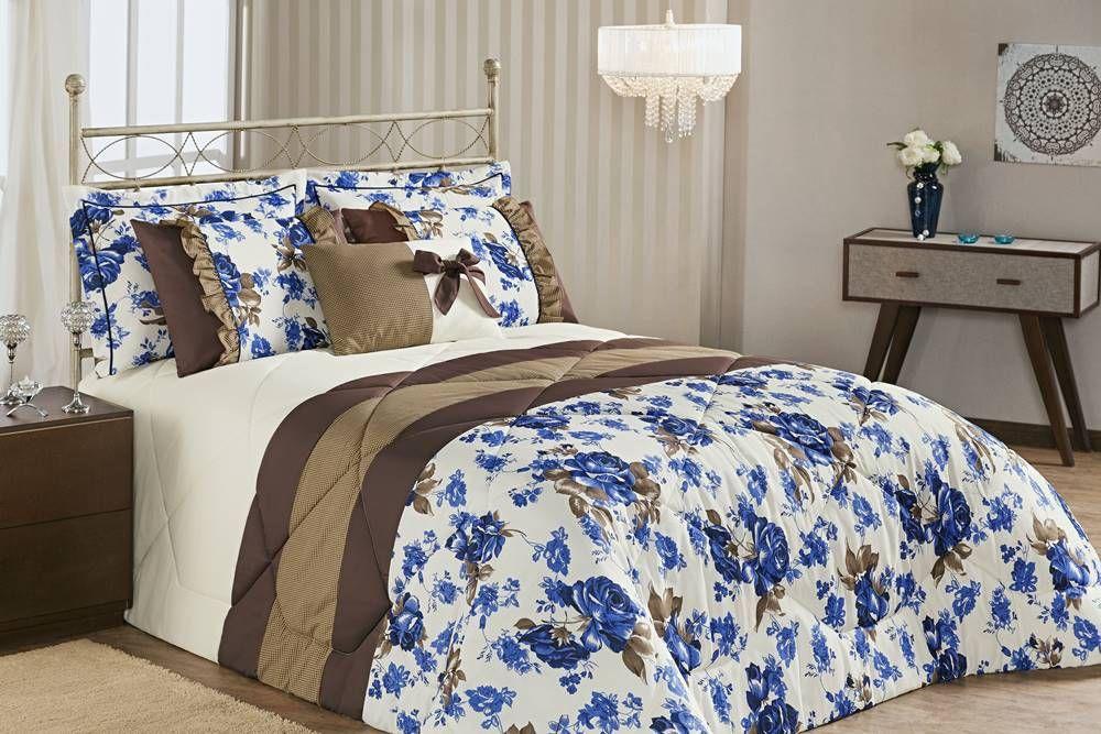 Edredom Estampado Queen Vitória 07 Peças - Floral Azul