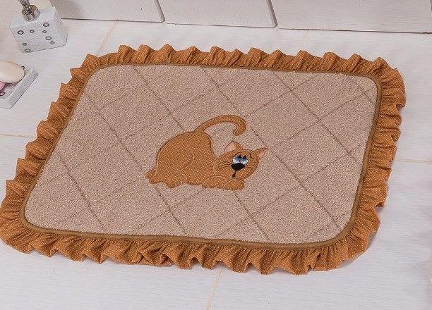 Jogo De Banheiro Atoalhado Bordado Elegance 03 Peças - Gato Caramelo
