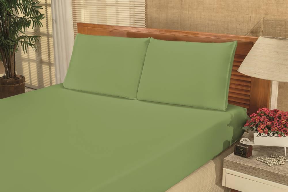 Jogo de Cama Lençol Casal Bianca 03 Peças - Verde