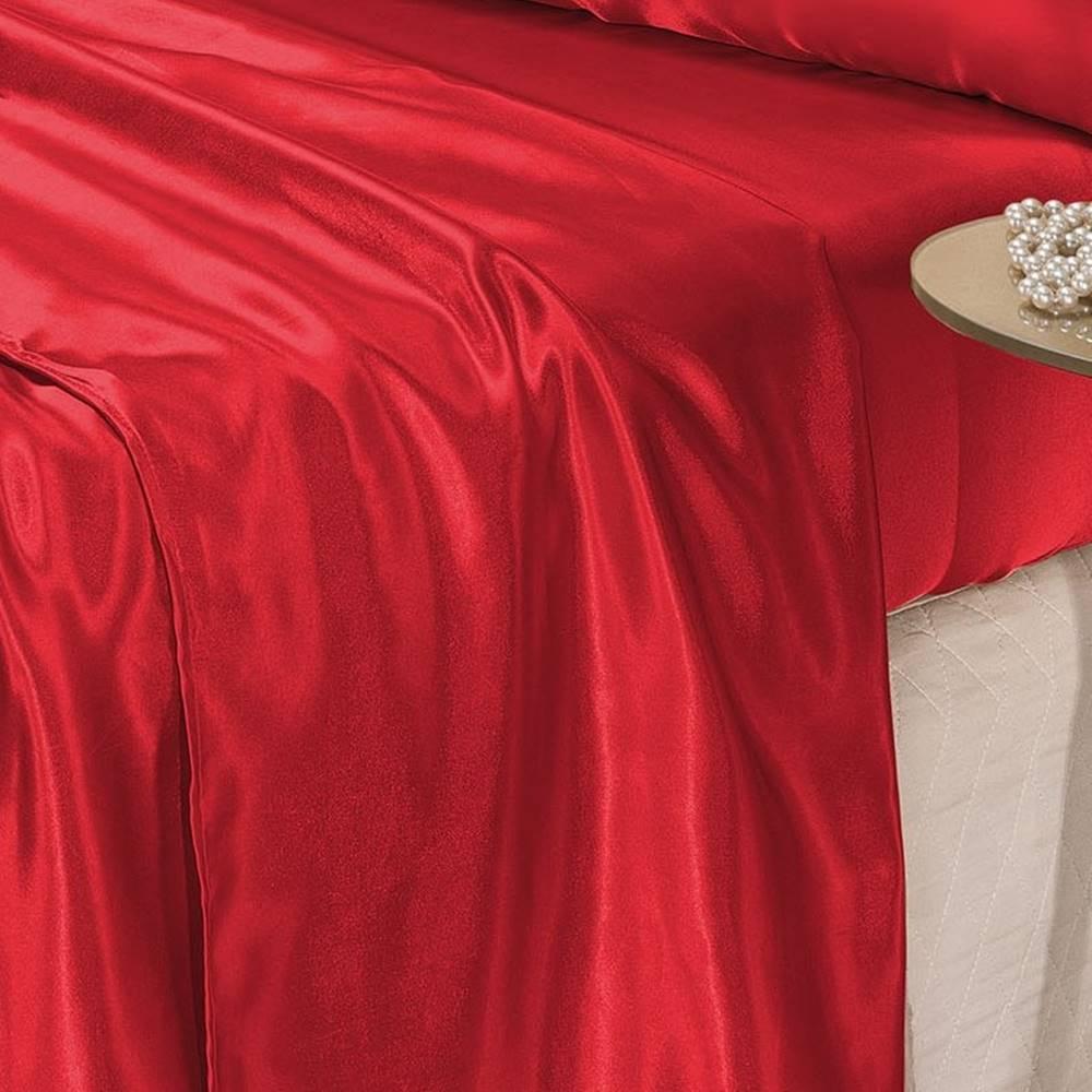 Jogo de Cama Lençol Cetim King Romantic 04 Peças -  Vermelho