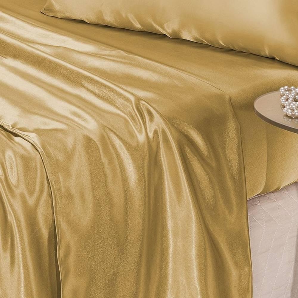 Jogo de Cama Lençol Cetim Queen Romantic 04 Peças - Dourado