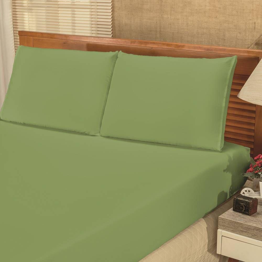 Jogo de Cama Lençol King Bianca 03 Peças - Verde