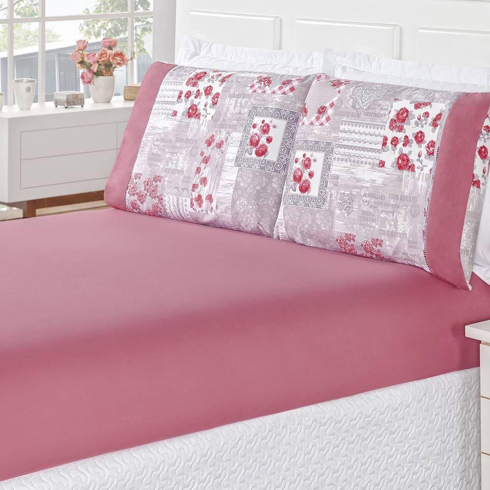 Jogo de Cama MicroPercal 200 Fios Naturale Solteiro 02 Peças - Pink