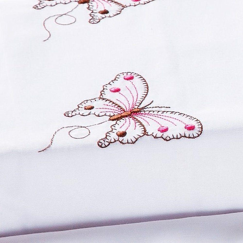 Jogo de Cama Queen Naturalle  4 Peças - Branco e Rosa