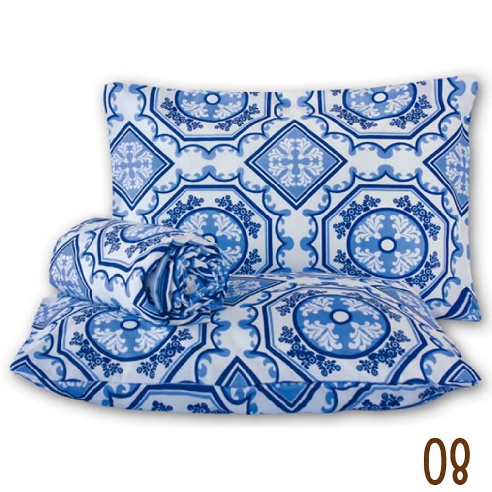 Jogo de Lençol Casal Marina Tecido Misto 03 Peças - Azuleijo Azul
