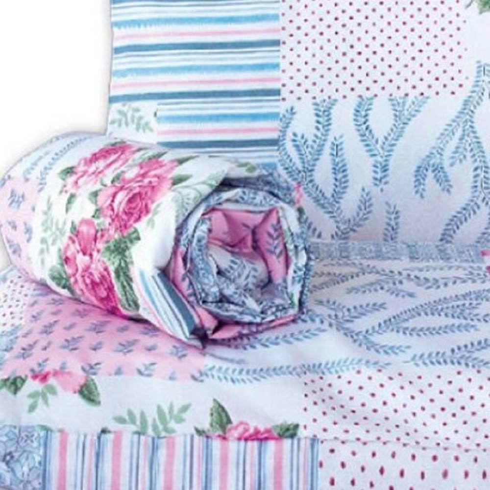 Jogo de Lençol Casal Marina Tecido Misto 03 Peças - Floral Rosa e Azul
