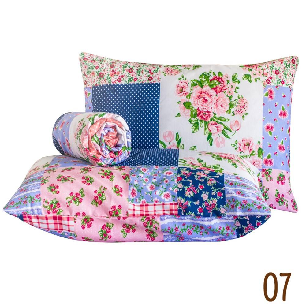 Jogo de Lençol Casal Marina Tecido Misto 03 Peças - Patchwork Azul e Rosa