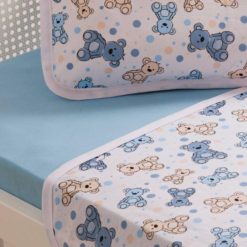 Jogo De Lençol Para Berço Urso Azul Vivaldi Baby 03 Peças - Azul