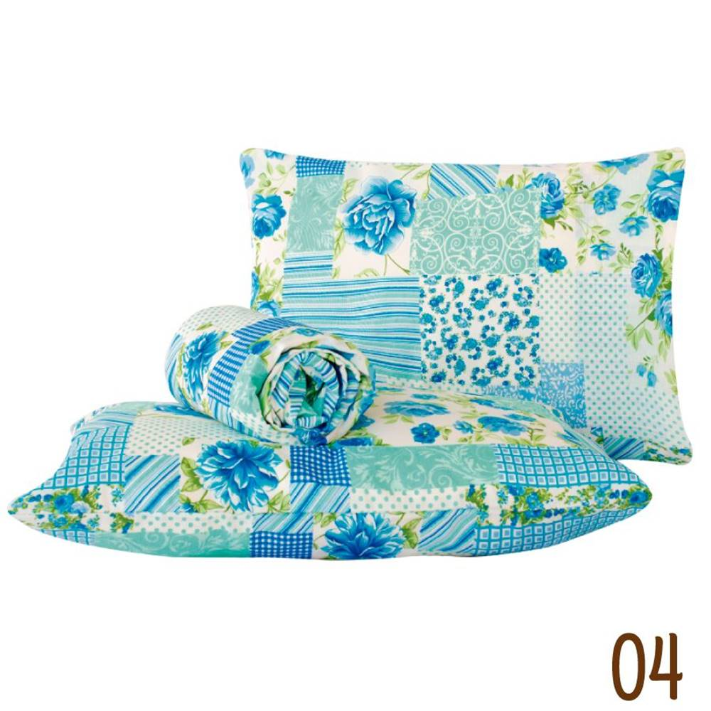 Jogo de Lençol Queen Marina Tecido Misto 03 Peças - Patchwork Azul