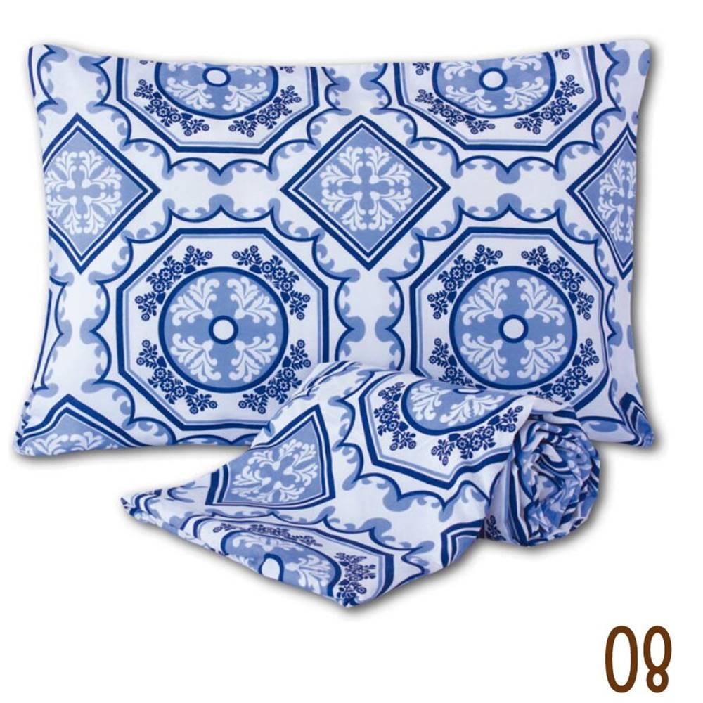 Jogo de Lençol Solteiro Marina Tecido Misto 02 Peças - Azuleijo Azul