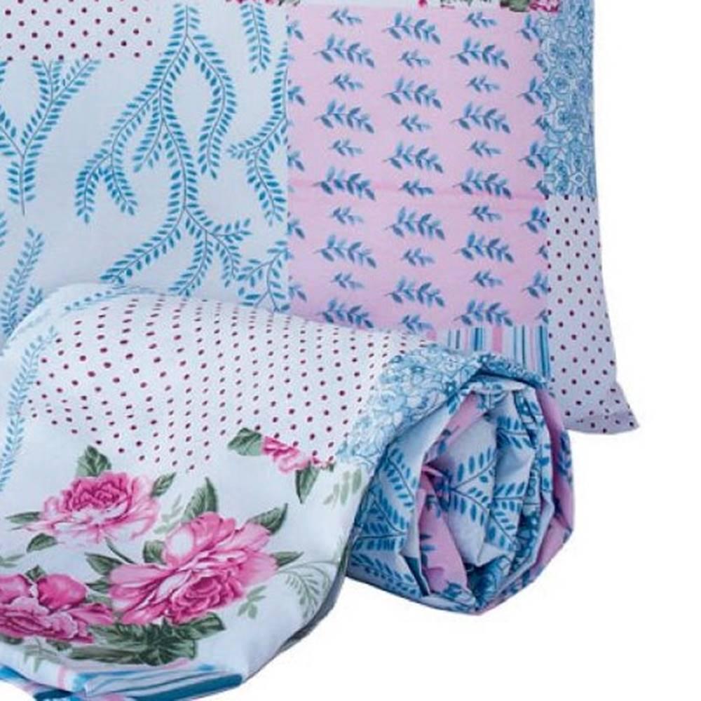 Jogo de Lençol Solteiro Marina Tecido Misto 02 Peças - Floral Rosa e Azul