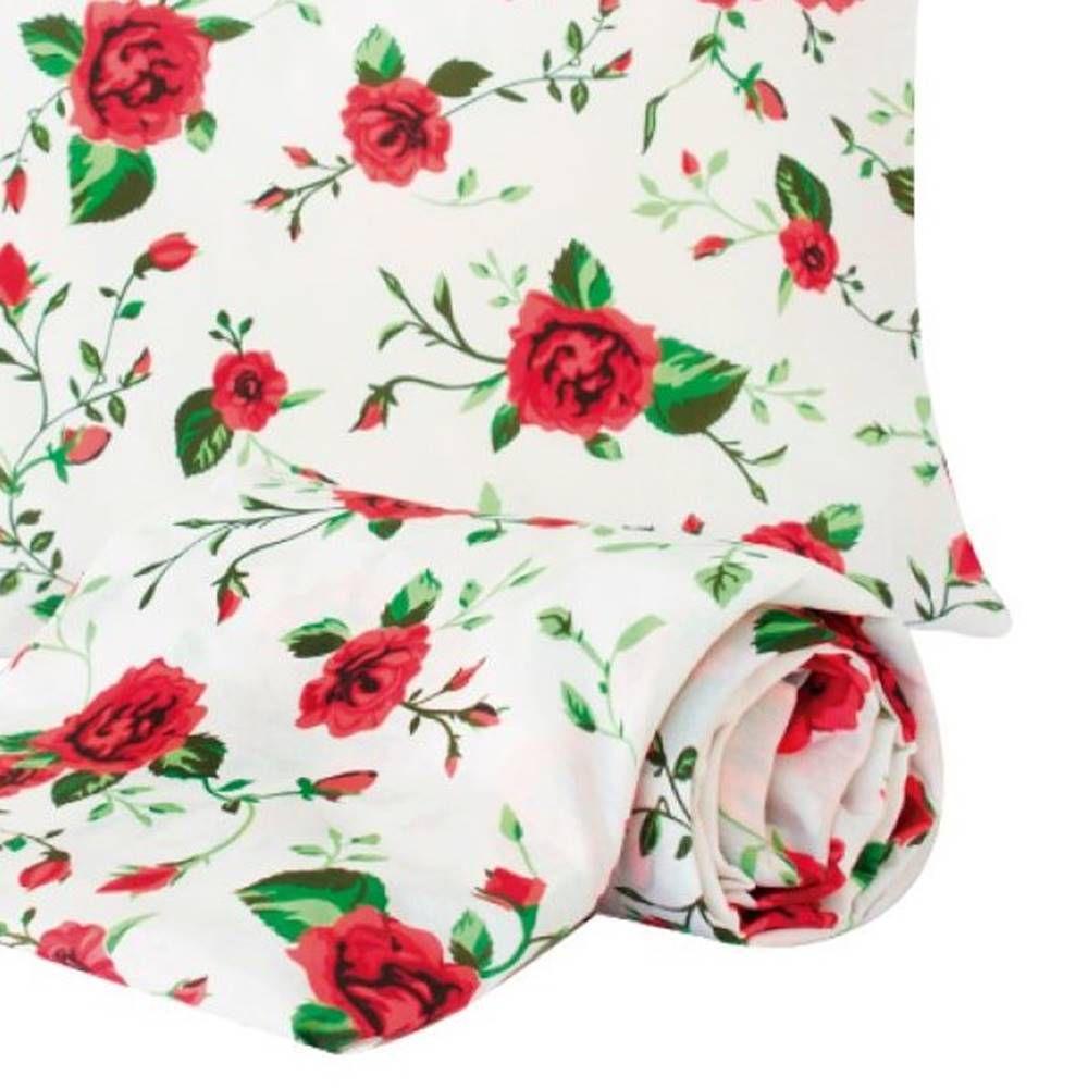 Jogo de Lençol Solteiro Marina Tecido Misto 02 Peças - Flores Vermelhas