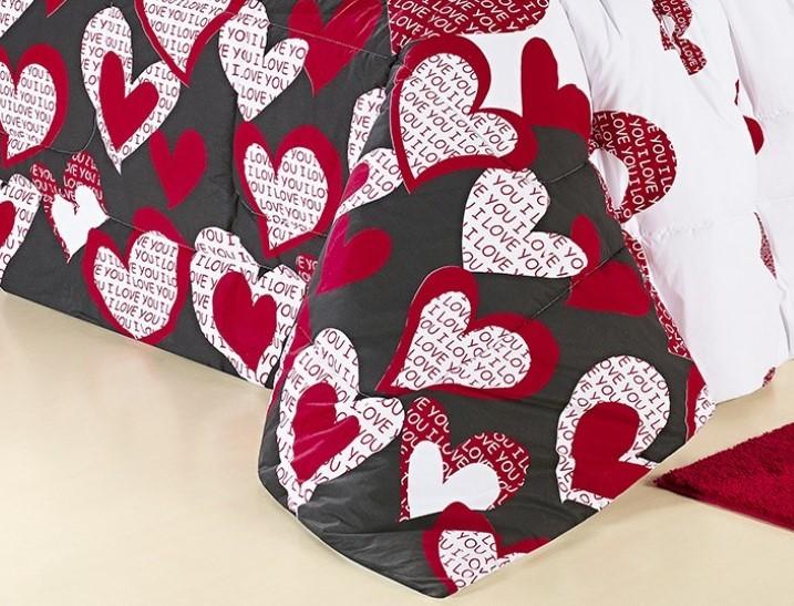 Kit Cobre Leito Estampado 200 Fios Casal Desire 03 Peças - Estampa Love