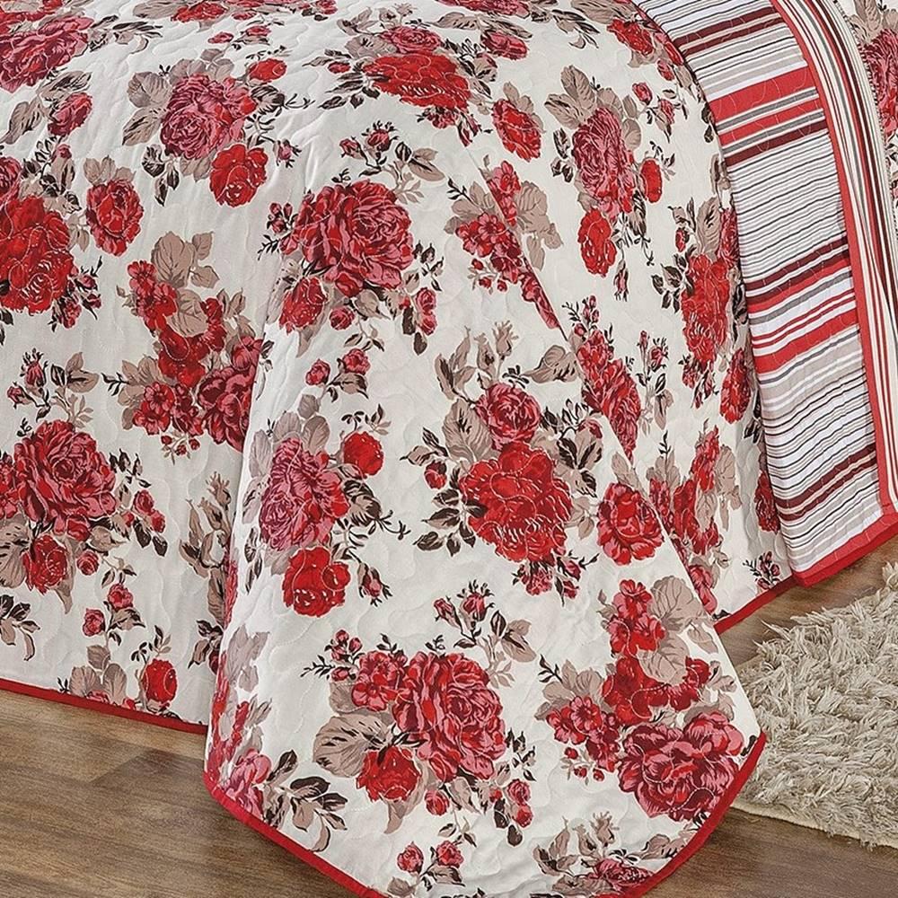 Kit Cobre Leito Queen Requinte  03 Peças - Vermelho