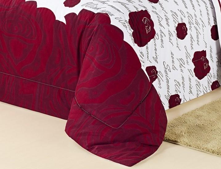 Kit Edredom Estampado 200 Fios Queen Craft 05 Peças - Roses