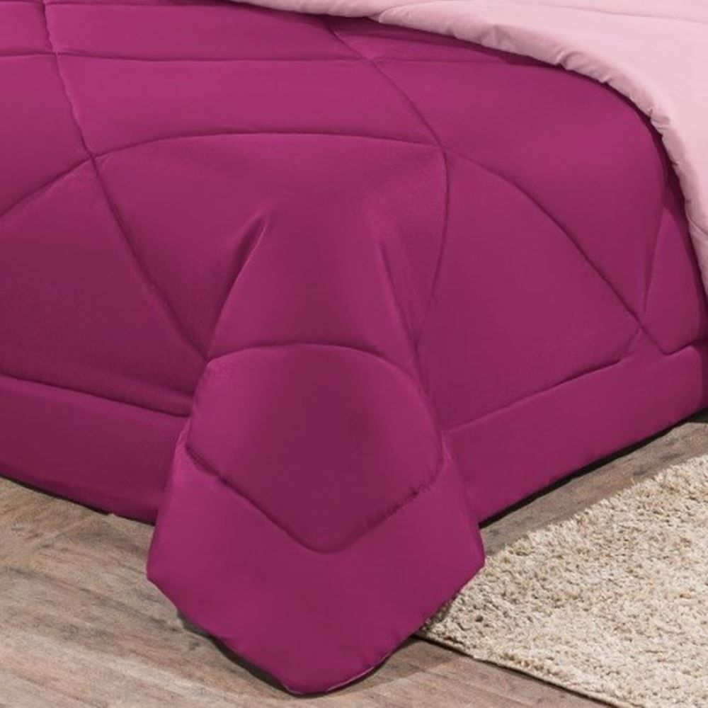 Kit Edredom + Jogo de Lençol Aconchego Look House Dupla Face Casal Queen 06 Peças - Pink e Rosa
