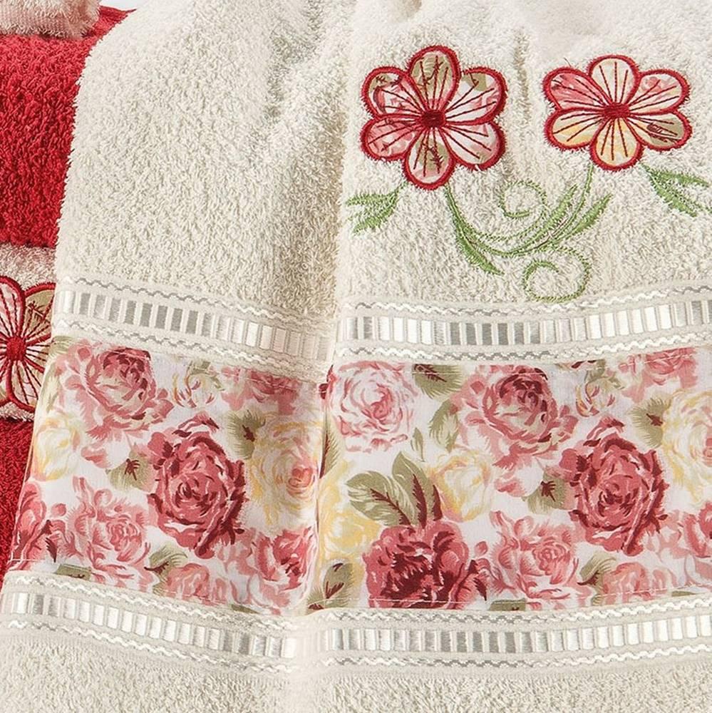 Kit Jogo de Banho Floral Bordado Passione 05 peças - Vermelho