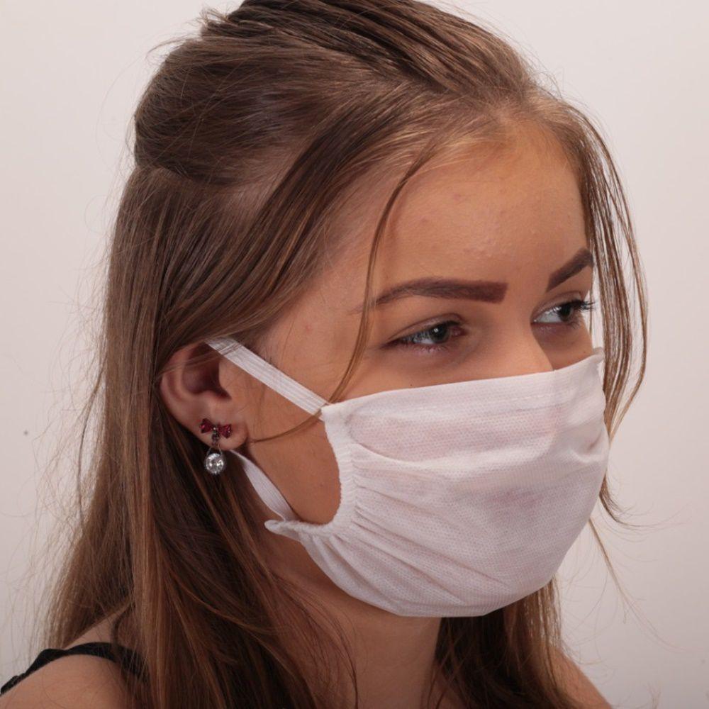 Kit Máscara de Proteção Descartável Tecido TNT 10 Unidades - Branca