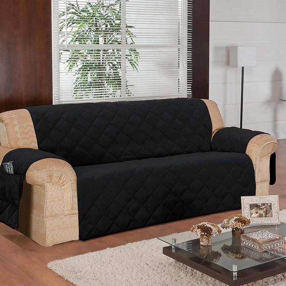 Protetor de Sofá Face Única Confort Home 2 e 3 Lugares - Preto