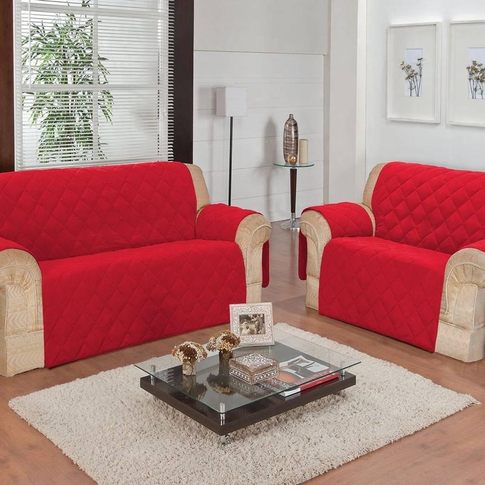 Protetor de Sofá Face Única Confort Home 2 e 3 Lugares - Vermelho