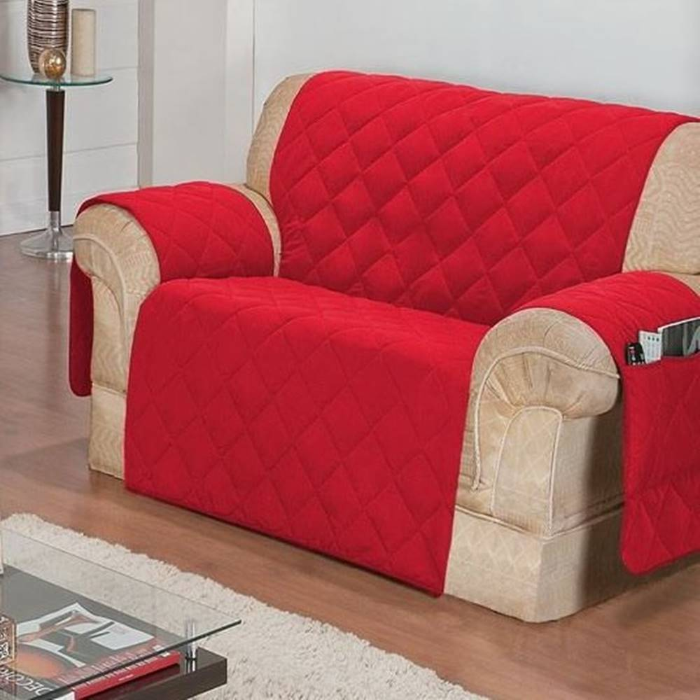 Protetor de Sofá Face Única Confort Home 2 Lugares - Vermelho