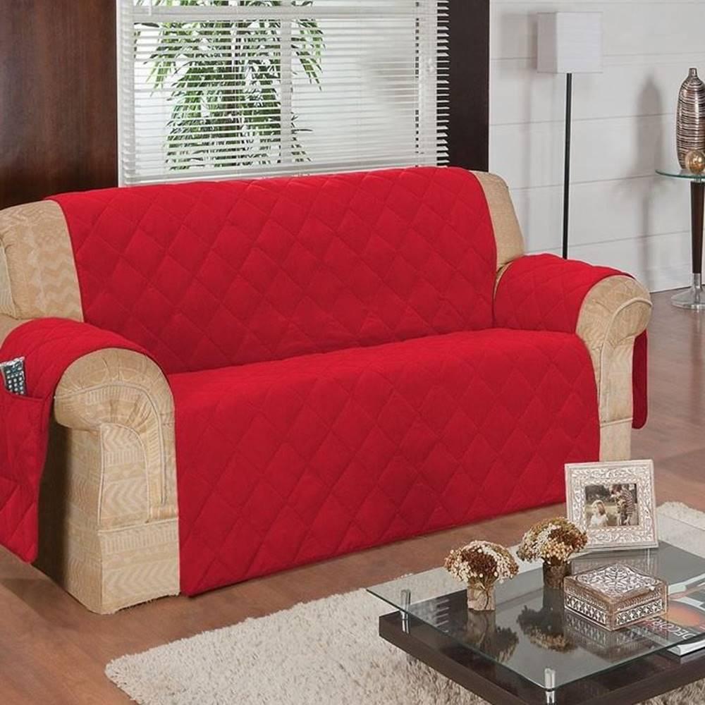 Protetor de Sofá Face Única Confort Home 3 Lugares - Vermelho