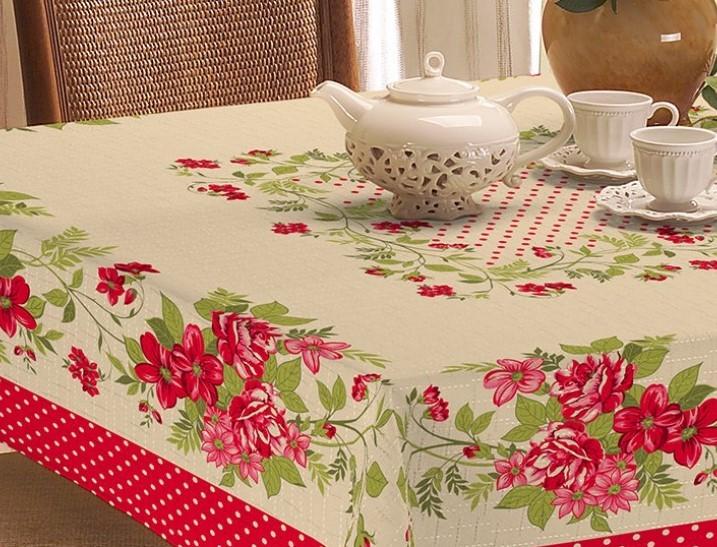 Toalha de Mesa 2,10m x 1,40m Rústica - Estampa Floral Vemelho