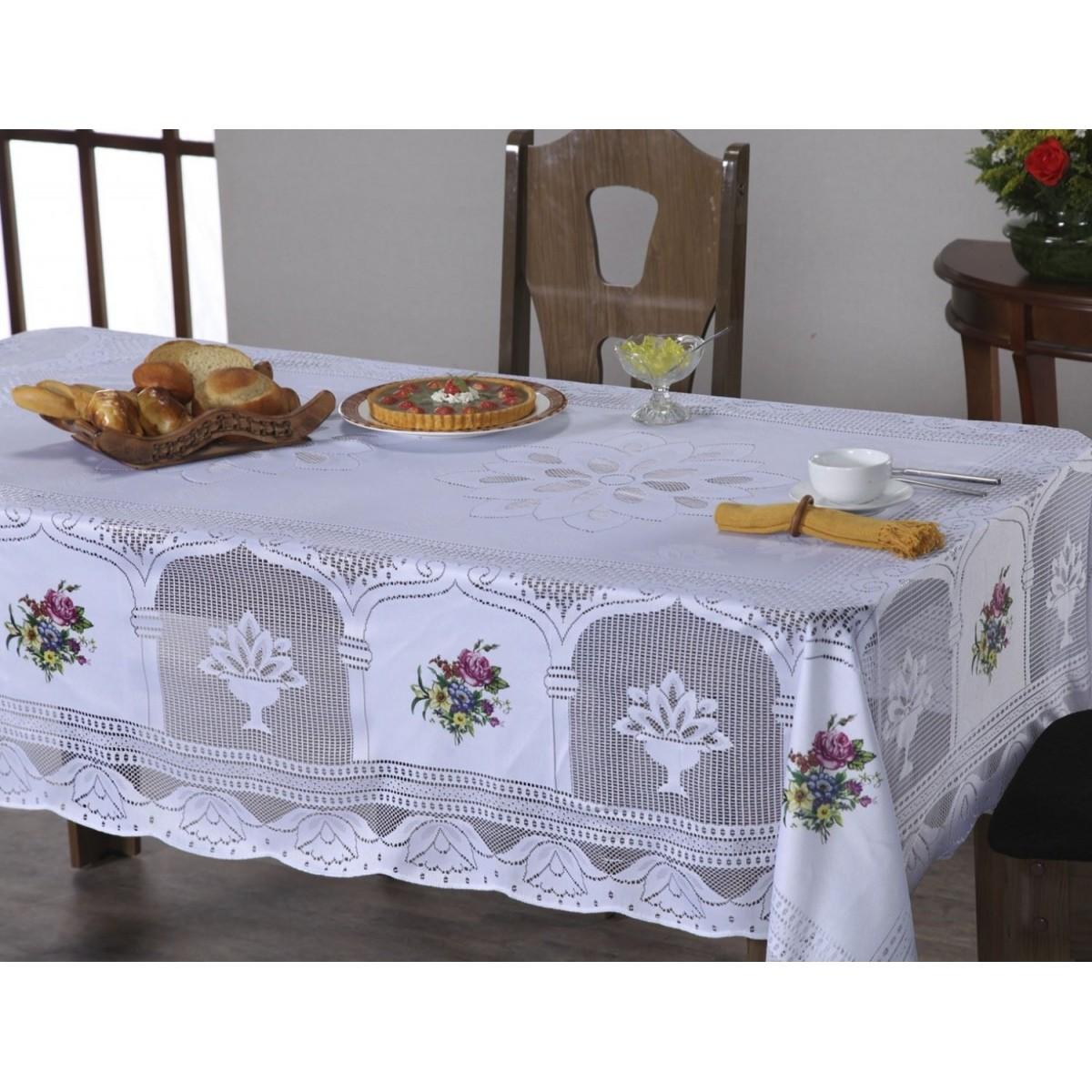 Toalha de Mesa Renda com Transfer 2,20m x 1,60m Suzi - Branco