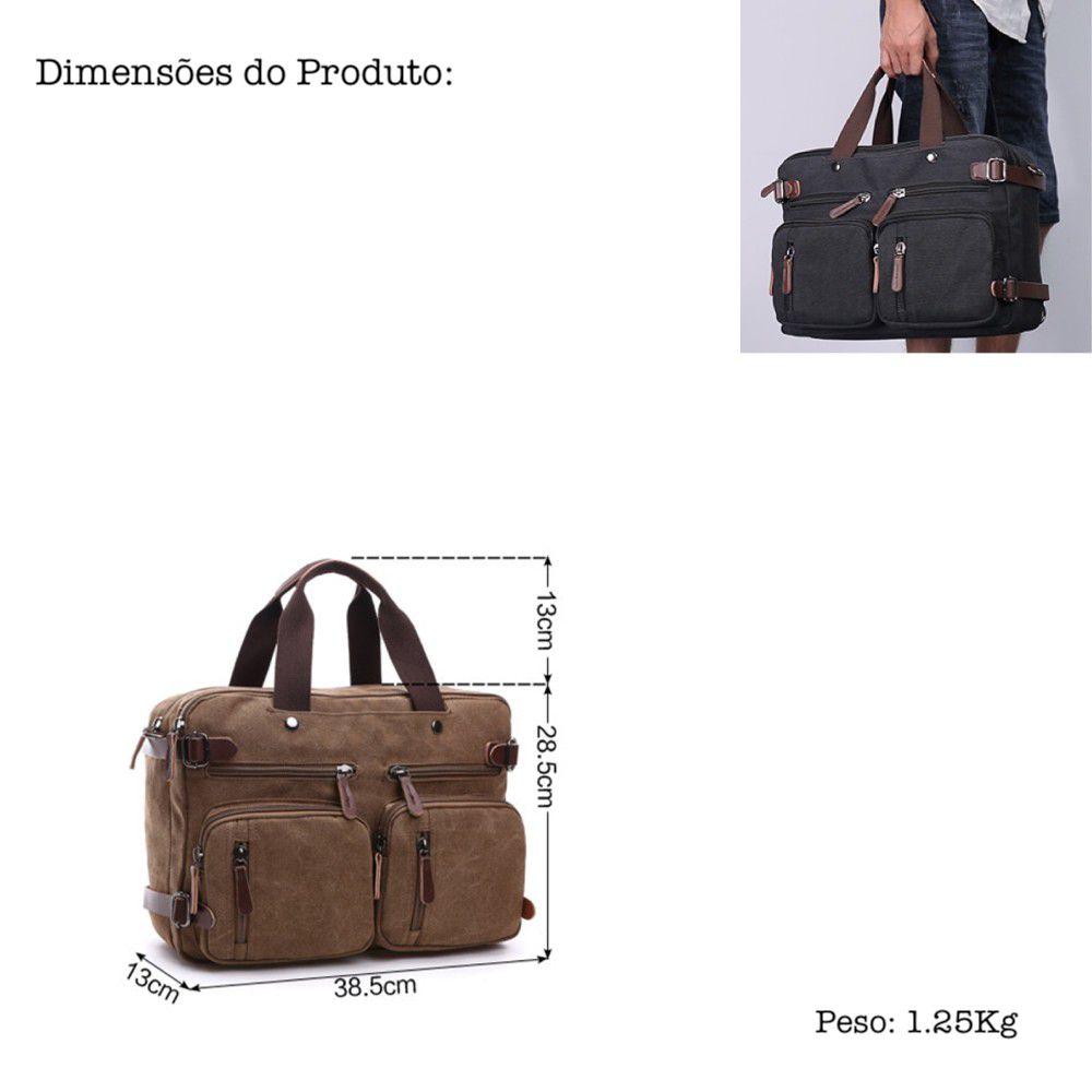 Bolsa de Notebook 15,6 Polegadas em Lona Premium Multifuncional