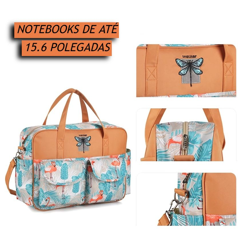 Bolsa de Notebook Feminina Impermeável Pasta Maleta de Notebook de até 15.6 Polegadas Transversal com alça de ombro resistente com acabamento premium com bolsos para carregadores tablets e smartphones