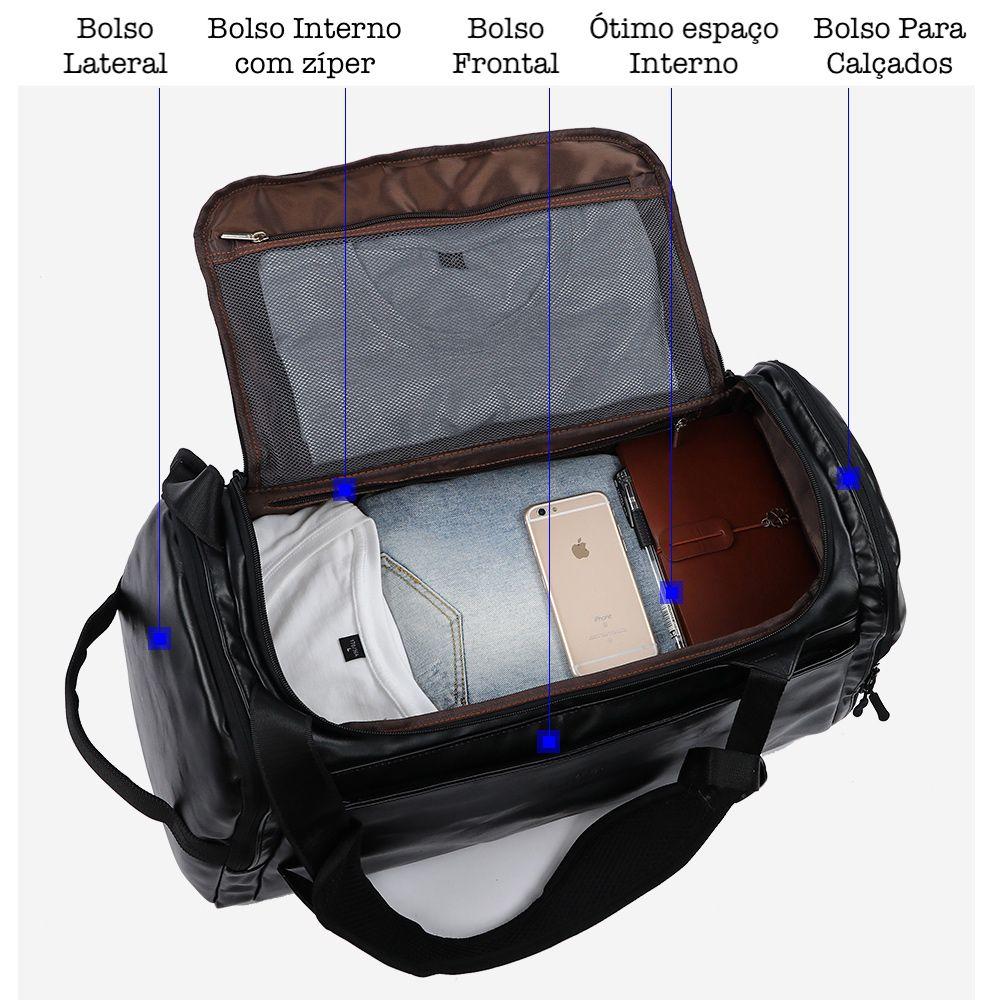 Bolsa de Viagem em Couro Sintético Premium