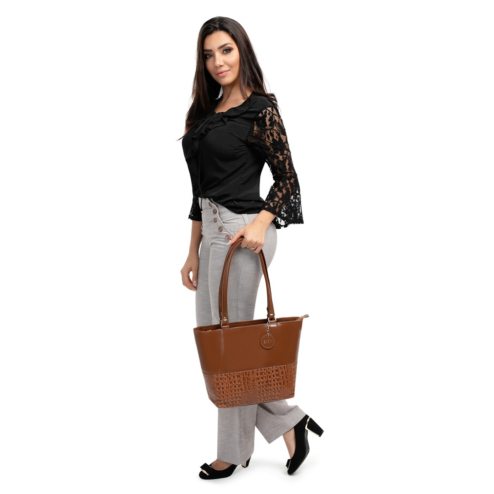 Bolsa Feminina de Couro legítimo Croco Grande Fashion