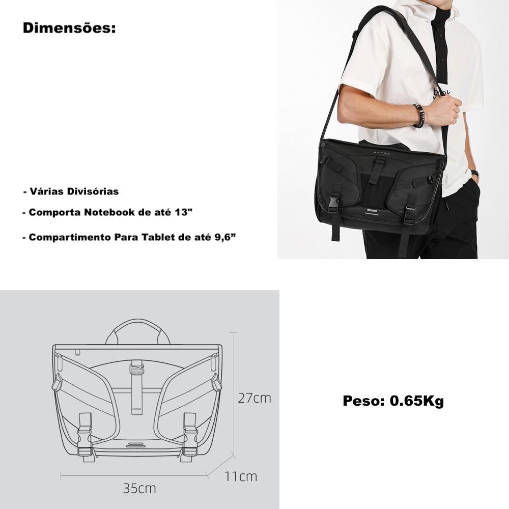 "Bolsa Masculina Tranversal Premium Para Macbook 13"" e Tablet"