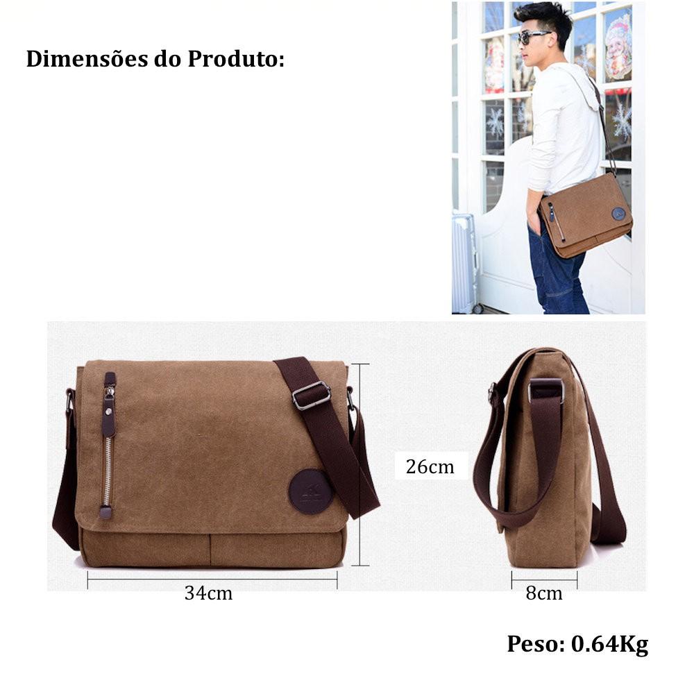 bolsa mensageiro masculina de lona para notebook de 13.3 polegadas