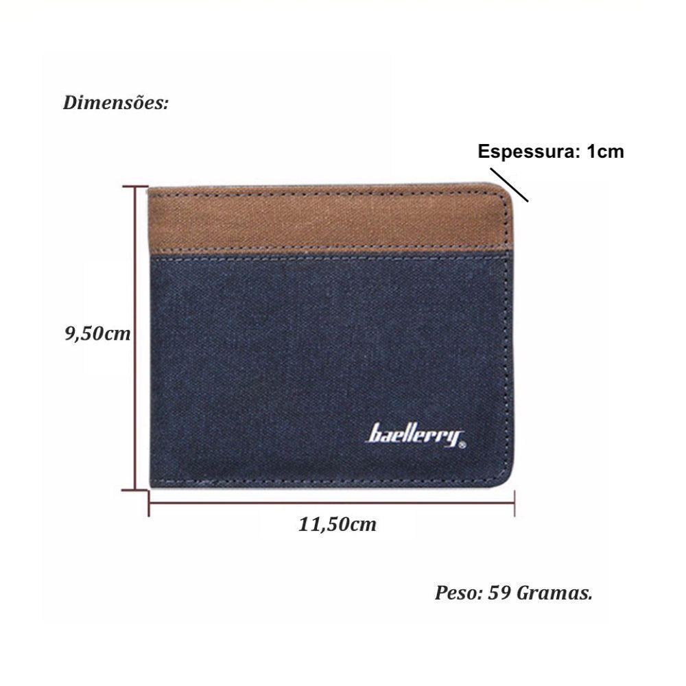 carteira masculina de couro sintetico e acabamento em tecido jeans
