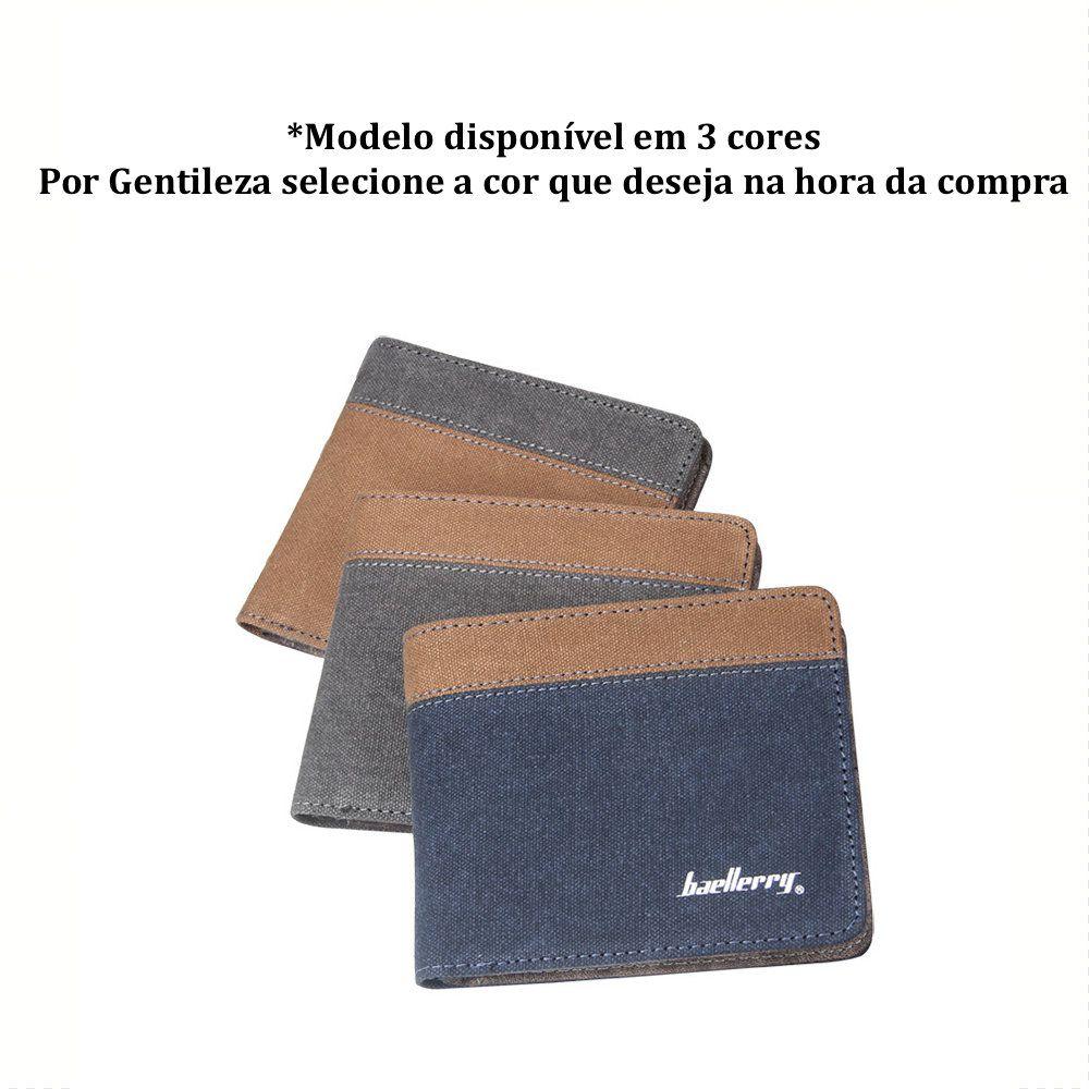 Carteira Masculina de Couro Sintético e Acabamento em Tecido Jeans
