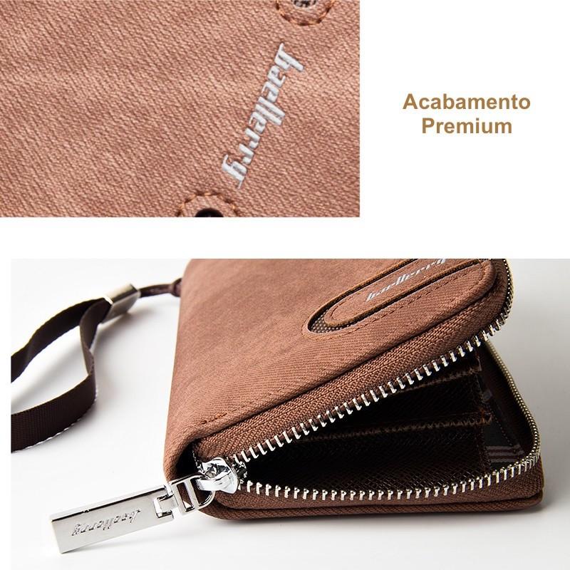 Carteira Masculina Moderna Com Ziper Para Celular Original
