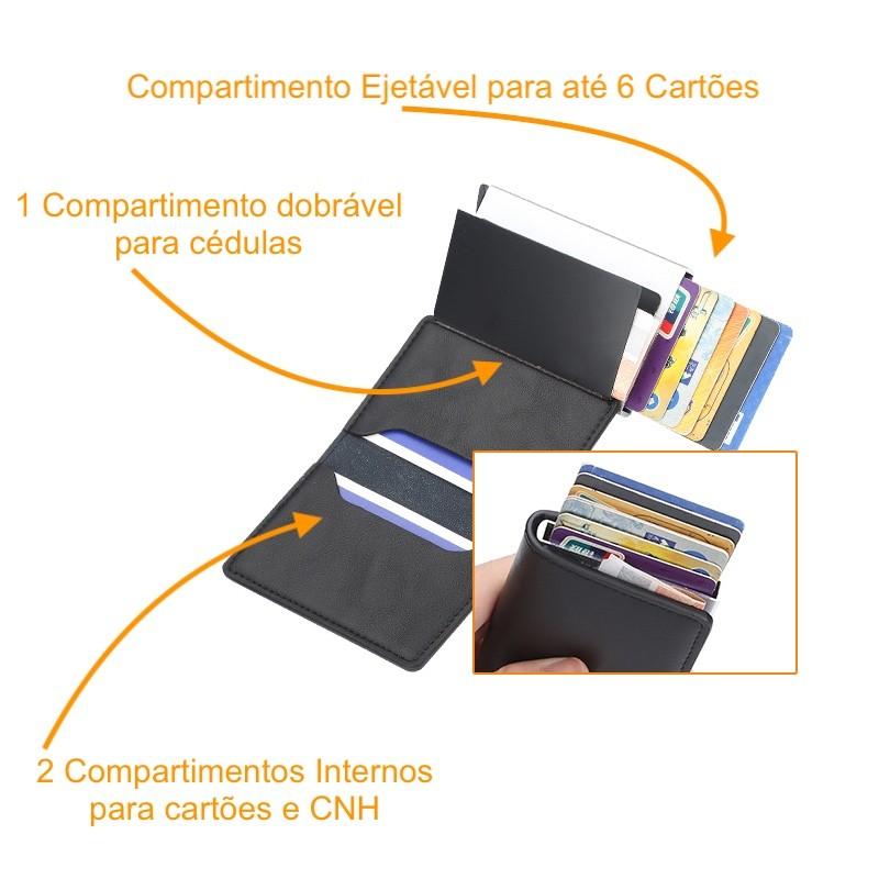 Carteira Rfid Compacta Baellerry de Alumínio Cartões Pop Up