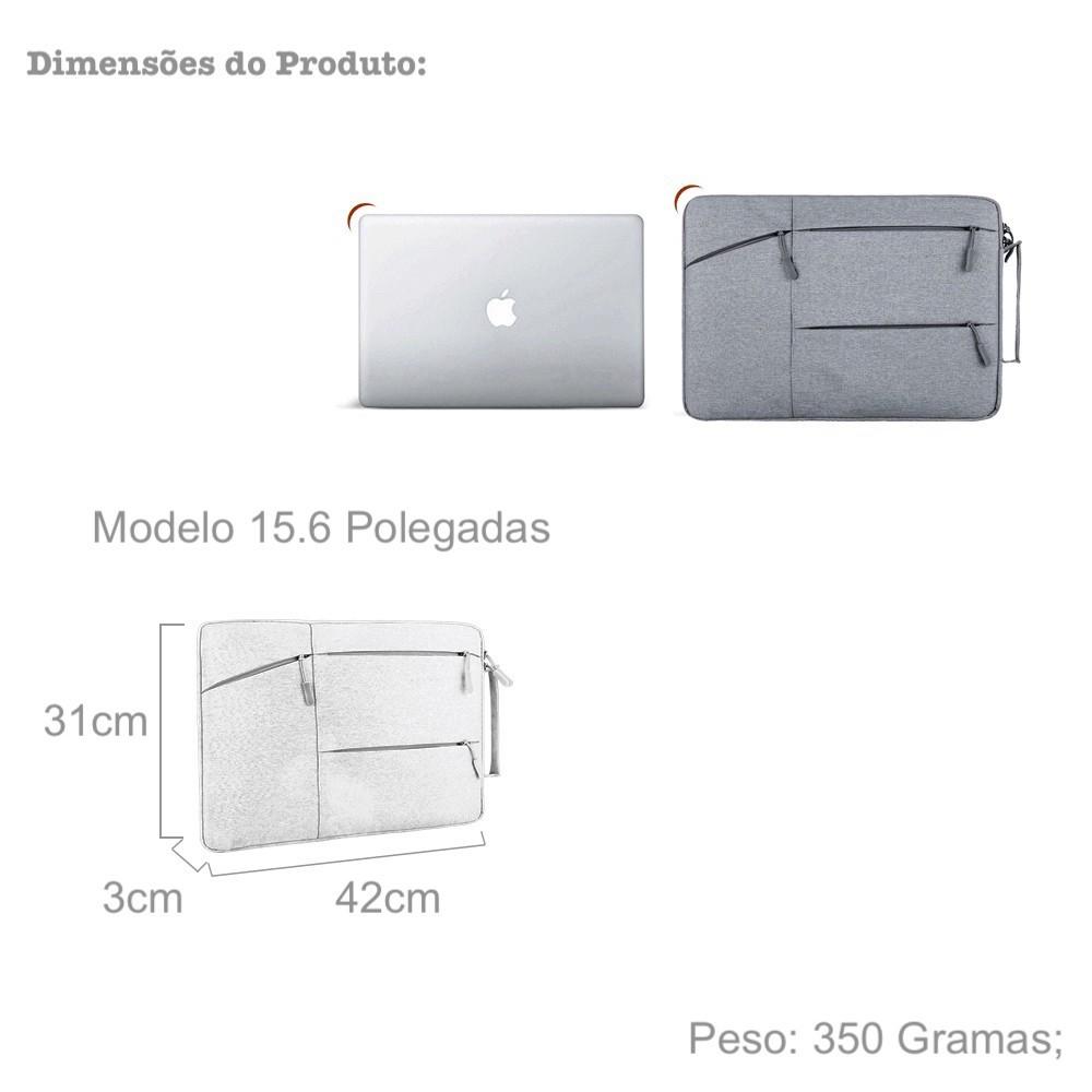 Capa Para Notebook Dell Acer HP Asus Lenovo Samsung Impermeável Slim com Interior de Veludo Alça de Mão e 3 Bolsos Capinha Case Sleeve Macbook Original Tokshop