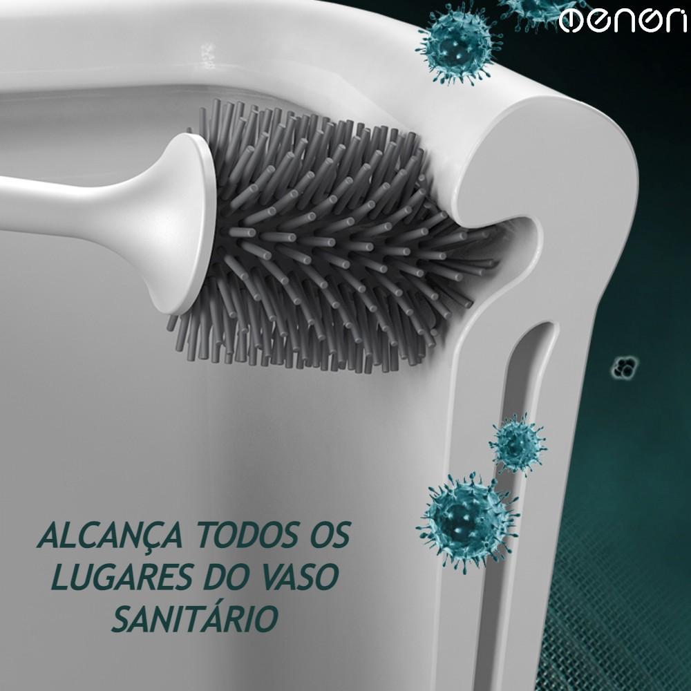 Escova Higiênica para Vaso Sanitário com Cerdas em Silicone Premium com Suporte de Parede e Tampa de Fácil Instalação Sem furos e Sem Sujeira Escovinha para Limpeza de Privadas OENON