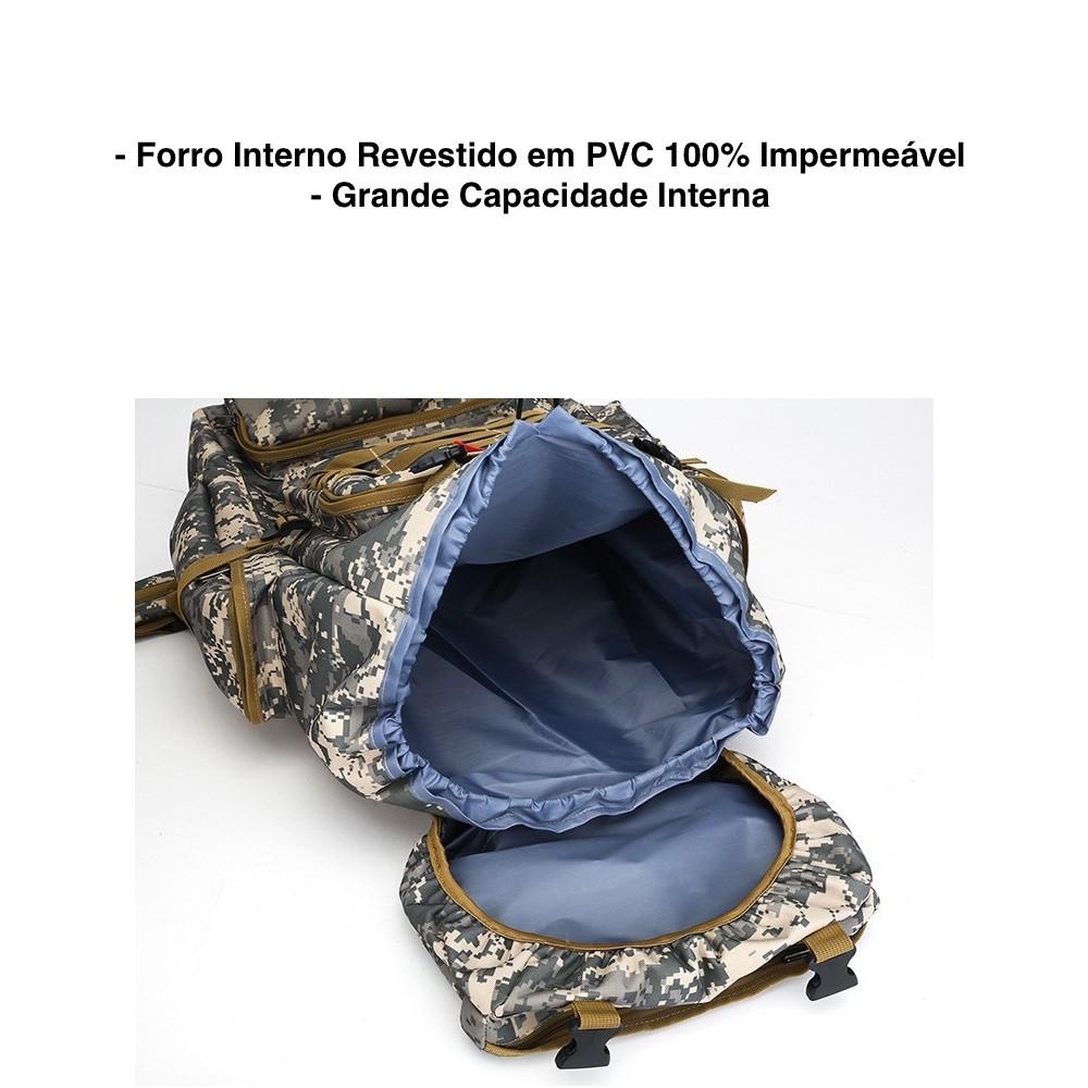 Mochila Acampamento Militar Camping 80 Litros Impermeável