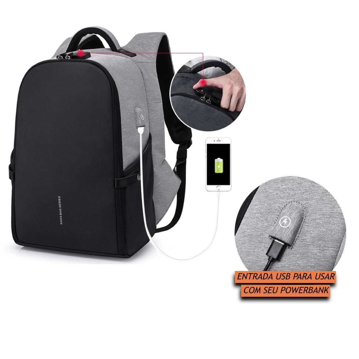 Mochila Antifurto Impermeável Premium com Cadeado de Código e Trava para Notebooks de Até 15.6 Polegadas e Tablets Resistente de Alta Qualidade